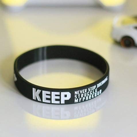 Creative-Silikon-Armband Silikon Armband Parkour Basketball Flut Skateboard Kleines Fitness-Armband (Color : Black)