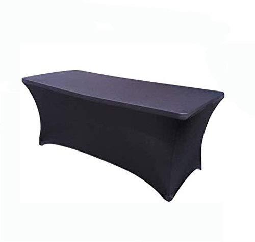 Namvo Mantel elástico de 16 m rectangular de spandex para mesa de comedor de 4 pliegues, elástico, protector de mesa para bodas, banquetes, fiestas, color negro