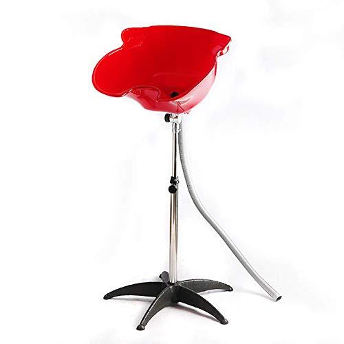 XJZKA Lavabo para el Cabello, Ajustable, portátil, con champú, para peluquería, para Lavar el Cabello, Lavabo para Lavar el Cabello, móvil, Rojo, Rojo