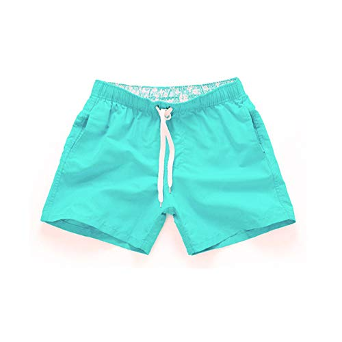 YUNDAN Men's Summer Casual Swim Trunks Solid Quick Dry Board Shorts Loose-fit Comfort Swimsuit Workout Beach Holiday Mint Green