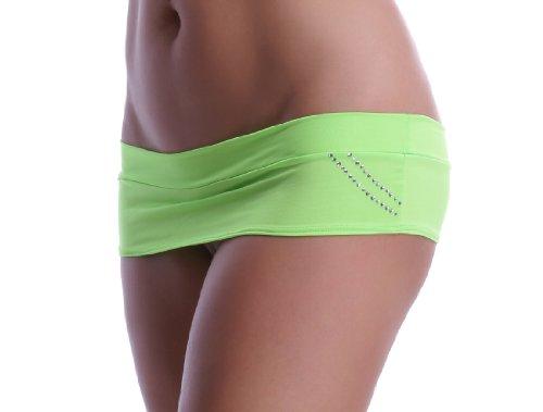 Minifalda erótica con tiras de cristales en forma de bolsillo verde neón...
