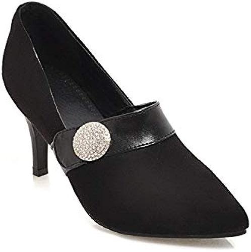 HOESCZS Talons Hauts Nouveau Printemps Talons Aiguilles A Souligné Strass Bouton Chaussures De Mariage Bouche Peu Profonde Chaussures De Travail