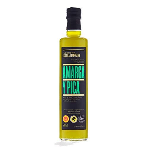 Amarga y Pica - Aceite de Oliva Virgen Extra 500 ml, Variedad Picual, 1 Botella
