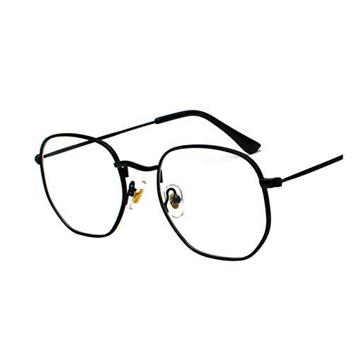 ZYHWS - Gafas de sol para hombre con marco de metal cuadrado, espejo aviador, clásico, retro, para mujer, gafas de sol de verano para mujer (color: negro transparente)