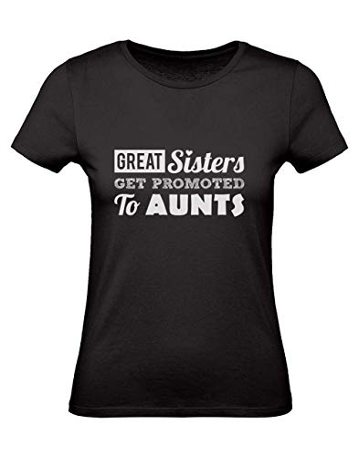 Green Turtle T-Shirts Camiseta para Mujer - Great Sisters Get Promoted to Aunts - Divertido Regalo para Futura Tía Small Negro