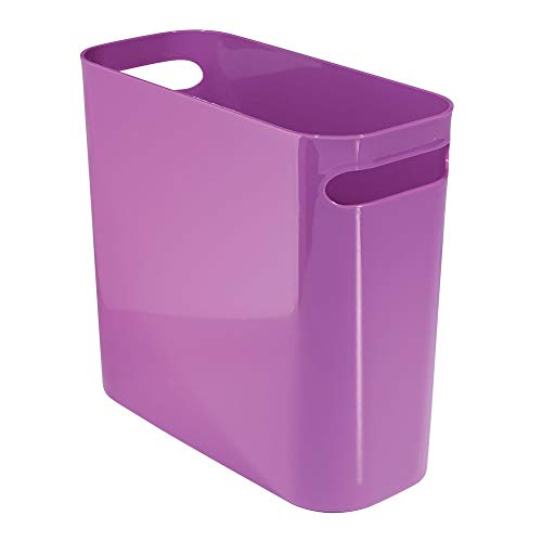 mDesign Slim Plastic Rectangular Small Trash Can Wastebasket, Garbage Container Bin with Handles for Bathroom, Kitchen, Home Office, Dorm, Kids Room - 10' High, Shatter-Resistant - Purple