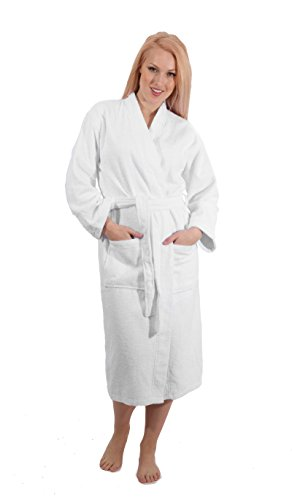 SALBAKOS Shawl Collar Hotel Spa Robe, Optic White, Medium/Large, Made in Turkey