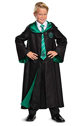 Harry Potter Slytherin Robe Prestige Children's Costume Accessory, Black & Green, Kids Size Large (10-12)