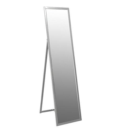Harbour Housewares Floor Standing Full Length Dressing Mirror - Metal Framed Bedroom Furniture - Silver - 136.5cm