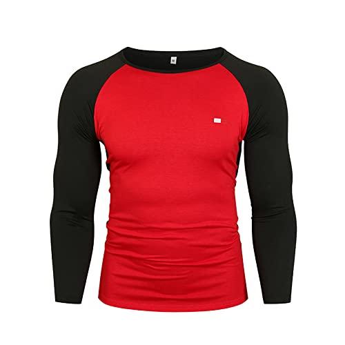 Jersey de Cuello Redondo para Hombre, Camiseta Informal cómoda de Manga Larga a Juego con Color a la Moda, cómoda y Relajada XXL