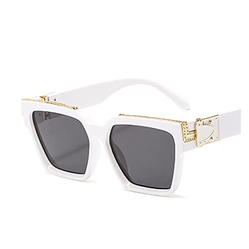 Big Shield Gafas De Sol Green para Hombres Vintgae Square Gafas De Sol Solillas para Mujer Metal Puente Shades Gafas Oculos (Lenses Color : White Black)