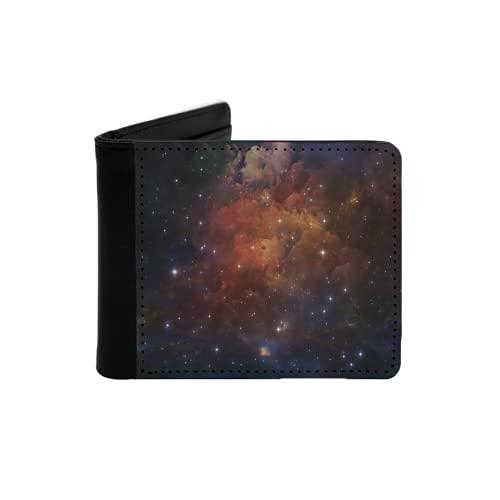 Cartera Delgada de Cuero para Hombre,Serie Deep Space Disposición Abstracta de Estrellas nebulosas y Colores adecuados como Fondo para proyectos sobre astronomía,Ciencia,Cartera Simple