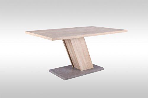 lifestyle4living Esstisch, Tisch, Küchentisch, Esszimmertisch, Säulentisch, rechteckig, Tischplatte und Gestell Sonoma Eiche NB, Boden Betonoptik