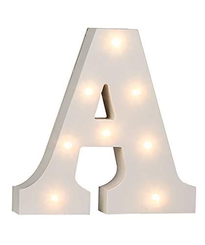 "Out of the Blue 57/6074 - Holz Buchstabe ""A"" beleuchtet mit 8 LED Lichtern, batteriebetrieben, ca. 16 cm"