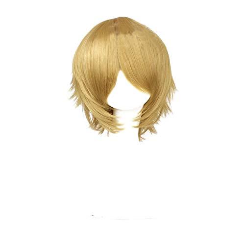 PWEINCY Byakuya Togami Cosplay Wig Short Fluffy Layered Halloween Costume Party Hair
