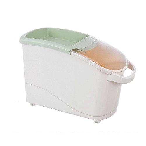 MEILING Seau de Riz en Plastique Stockage Boîte de Riz Réservoir de Riz Réservoir de parasites Mouillage Plus épais avec Couvercle Cuisine 18L Barils scellés (Couleur : Vert)