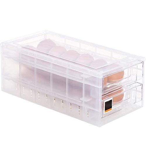 Caja de Almacenamiento de Huevos con cajón, contenedor de Almacenamiento de Huevos Transparente de plástico con Tapa Soporte portátil para Huevos para 24 Huevos