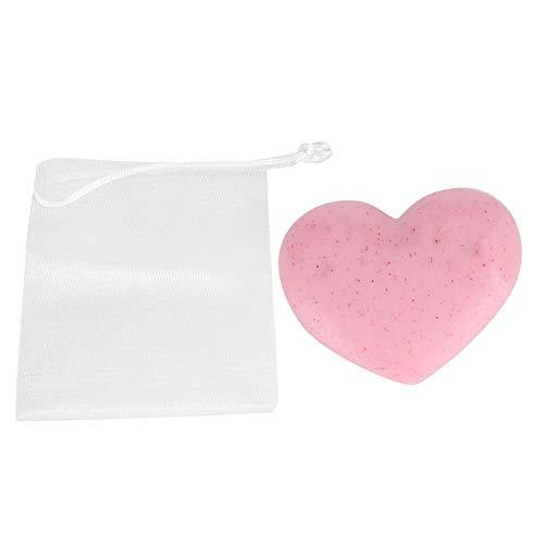 Handgemaakte zeep, natuurlijke exfoliërende bodyscrubzeep Hartvormige reiniging Hydraterende zeep voor lichaam en gezicht Hand, huidverzorging Handgemaakte zeep, roze