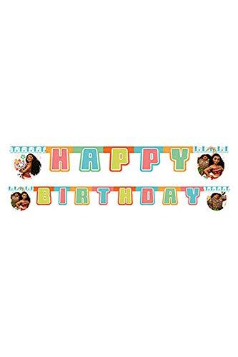 Disney Vaiana Moana 54468 SEMO2002 Party Dekoration 'Happy Birthday' Buchstaben Girlande