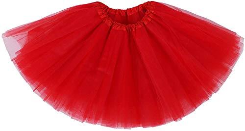 Ksnnrsng Femme Ballet Tutu Tulle Jupes 3 Couche Pettiskirt Mini Robe pour S'habiller Fête Les Costumes Danse (Rouge)