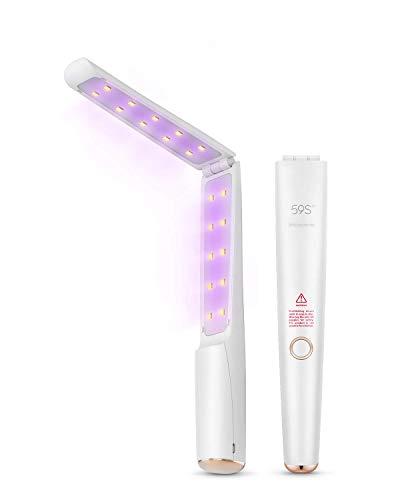Sterilizzatore UV, 59S Sterilizzatore Portatile UV 3min Sterilizzazione Rapida 99,9% con 20 Perline Lampada a LED, Pieghevole Ricaricabile Facile da Trasportare (NON Include Goggle)