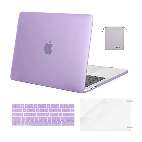 MOSISO Compatible with MacBook Pro 13 inch Case 2016-2020 Release A2338 M1 A2289 A2251 A2159 A1989 A1706 A1708, Plastic Hard Shell Case&Keyboard Cover Skin&Screen Protector&Storage Bag, Light Purple