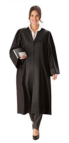 die Robe – Schwarze Rechtsanwalts- / Anwaltsrobe für Damen aus Reiner Schurwolle mit Atlas Besatz – Größe S (34/36)