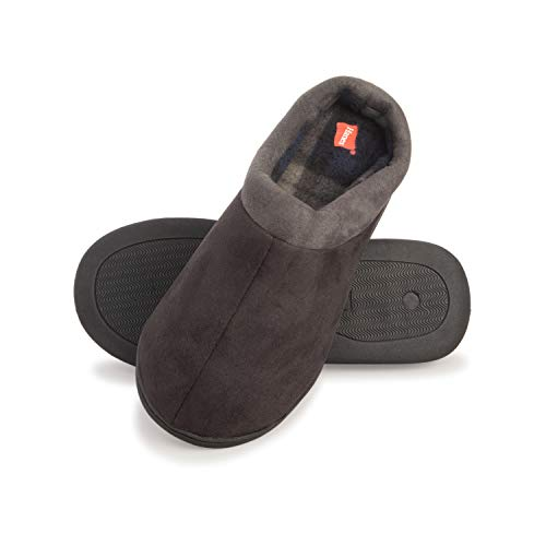 Hanes Men's Comfort Memory Foam Slip on Clog House Shoes with Indoor/Outdoor Anti-Skid Sole (Black, Size Large)