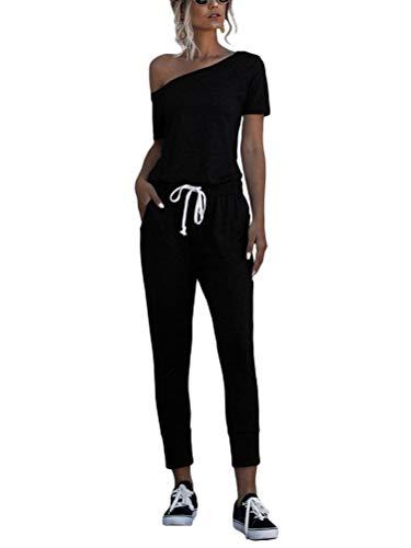 Minetom Jumpsuit Damen Elegant Langarmshirt Damen Overall O-Ausschnitt Off Shoulder Strand Kordelzug Romper Lang Einfarbig A Schwarz 36