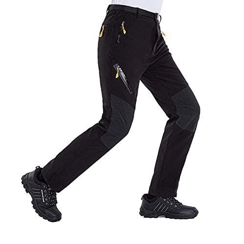 LUI SUI Pantaloni da Trekking Leggeri da Uomo Softshell Pantaloni da Trekking Elasticizzati ad Asciugatura Rapida per Esterni con Tasche con Zip