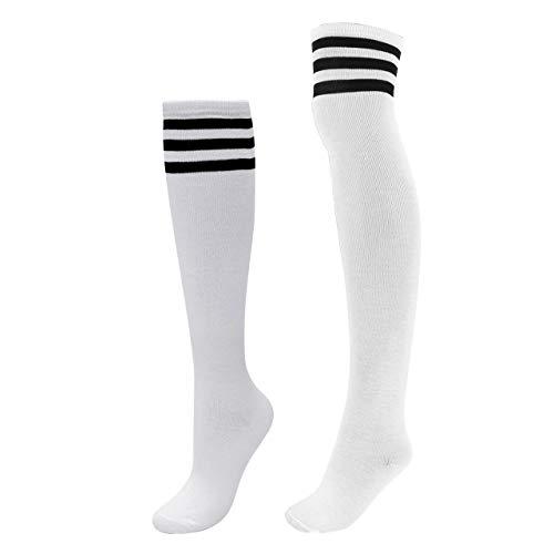 CHIC DIARY Kniestrümpfe Set Damen Fußball Sport Socken College Cheerleader Kostüm Overknee Strümpfe Cosplay Streifen Strumpf