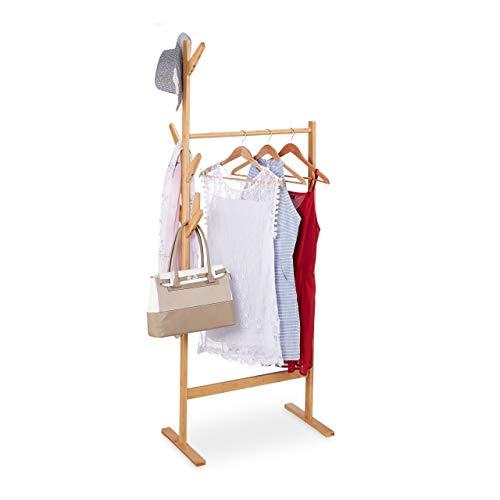 Relaxdays Kleiderständer Bambus, offener Garderobenständer, Kleiderstange & Hutständer, Baum, 176,5 x 64 x 40 cm, Natur