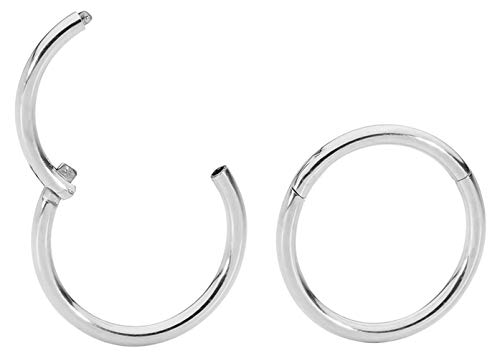 1 Pair Stainless Steel 18G (Thin) Hinged Segment Ring Hoop Sleeper Earrings Body Piercing - 10mm Steel