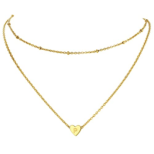 PROSTEEL Gargantilla de Cuello Mujer Collar Dos Capas Oro Baño Hipoalergenico Gargantillas Cuello Corazón Letra P