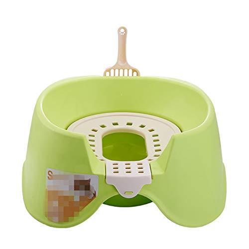 OMKMNOE Gato Inodoro Gato Entrenamiento Kit de Inodoro Productos Mascotas plástico Grande Gato Caja Caja Bandeja extraíble Cama portátil Cacerola paño,Verde