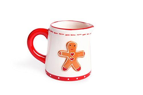 Excelsa Ginger Boy & Girl Set Sucrier et Pot à Lait en céramique, Blanc et Rouge, 8 x 11,5 x 8,5 cm, 2 unités