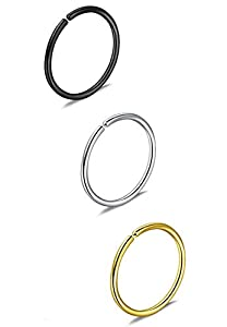 Via Mazzini Surgical Steel 8mm No Rusting Pack Of 3 Pcs Clip-On Non-Pierced Nose Ring For Women And Girls (NR0148) 3 Pcs