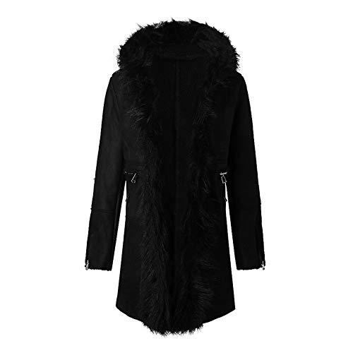 Loopardo Damen Fellkapuze Winterjacken Lange Kunstfell Pelzmantel Coat Fellmantel Kapuzejacken Mit Gürtel Mode Parka Jacke Felljacke Outwear