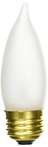 Bulbrite B25EFF 25-Watt Medium Base Incandescent Flame-Tip Chandelier Bulb, Frost, 2-Pack