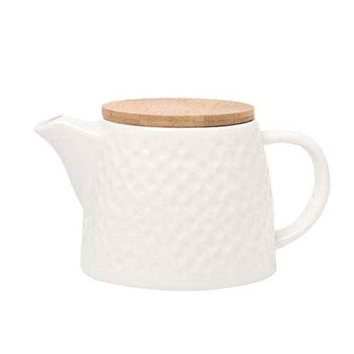 BRT Ceramic Porcelain Teapot With Stainless Steel Infuser, Bamboo lid (White)