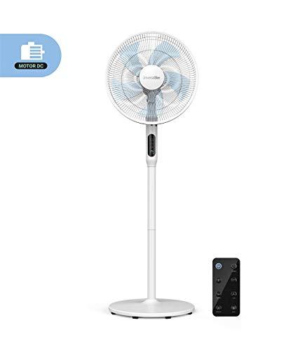 UNIVERSALBLUE | Ventilador de pie Silencioso blanco | Mando a Distancia | 24 velocidades | Modo ECO | Motor DC