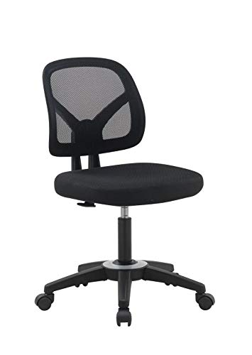 OFFICE FACTOR Mid Back Task Armless Office Chair, Computer Mesh Chair 360 Swivel Revolving Task Chair Without Arms, Black Mesh Back Desk Chair with Wheels for Office, Home Office or Students.