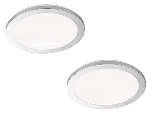 Plafonnier LED à intensité variable : 2 bols de Ø 30 cm Chromé/verre acrylique blanc