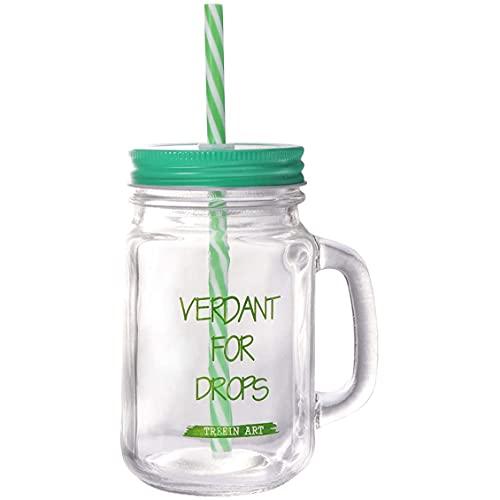 Sunsdew Juego de Vasos de Vidrio para Beber Pasado de Moda de 450 Ml, Tazas para Batidos, Tarros para Beber con Asa y Pajitas (Verde)
