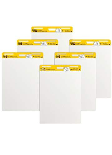 Post-It, Tischflipchart Blöcke mit 6 x 30 selbstklebenden weißen Blättern, Weißwandtafel für Meetings und Brainstorming, Meeting Chart, Whiteboard in der Größe 63,5 cm x 77,5 cm, 6 Blöcke