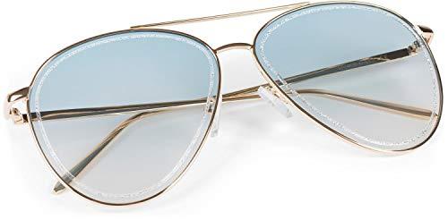 styleBREAKER gafas de sol de piloto de mujer con detalles de purpurina en las lentes, lentes tintadas de policarbonato y montura de metal, gafas 09020107, color:Montura oro/vidrio azul