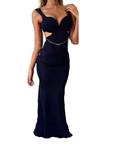 Ovender Vestidos de mujer elegantes vestidos de ceremonia largos de niña vestido mujer niña imperio formal elegante largo para baile de encaje fiesta novia dama Negro L
