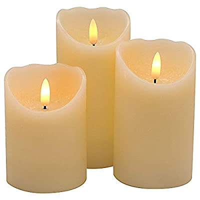 Eldnacele Flameless Flickering Candles 3D Wick with Timer, Battery Operated Real Wax Candles Ivory White Red