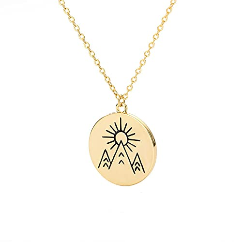 Sunrise Round Pendant Stainless Steel Necklace Men And Women Couple Necklace Landscape Disc Necklace Gold
