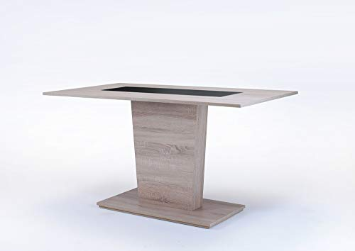 HOMEXPERTS, Esszimmertisch VENGA, Moderner Esstisch 110 cm, Küchentisch aus Melamin in schwarz oder weiß, Säulentisch in Melamin Sonoma Eiche, B 110, T 70, H 75cm